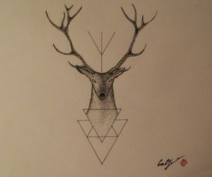 deer, draw, and triangle image