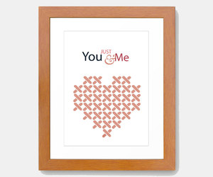 typography art, heart print, and romantic wall art image