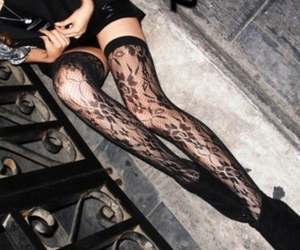 girl, lace, and legs image