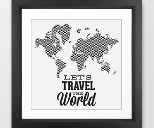 travel poster, wedding gift, and world map poster image