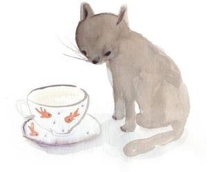 cat, drawing, and fish image