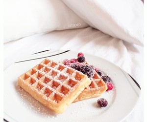 food, berries, and waffles image