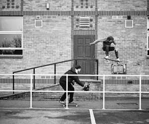black and white, ollie, and photography image
