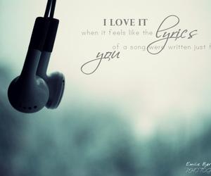 earphones, Lyrics, and quote image