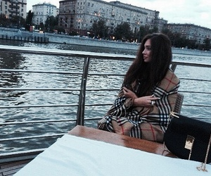 brunette, Burberry, and river image