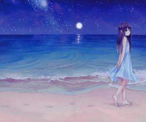 anime, girl, and beach image