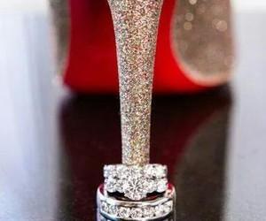 high heel, ring, and wedding image
