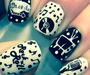 nails, music, and black and white image