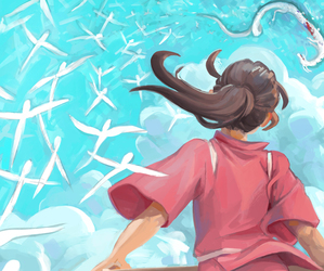 chihiro, hayao, and spirited away image