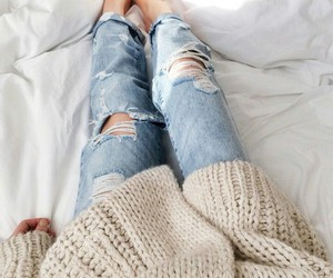 jeans and bed image
