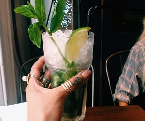 drink, lime, and mojito image