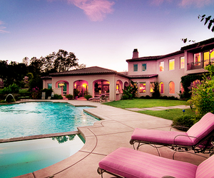 house, pool, and pink image