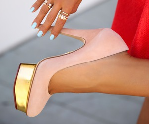 heels, pink, and nails image
