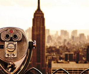 city, new york, and black and white image
