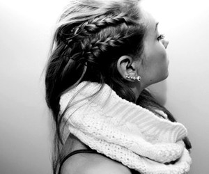 b&w, french braid, and black and white image