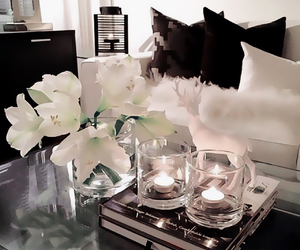 candles, flowers, and interior image