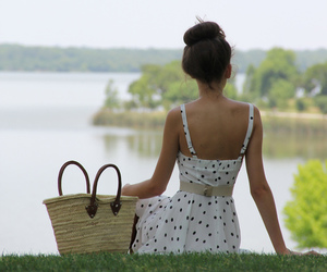 dress, bag, and nature image