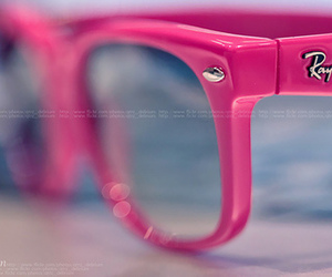 pink, ray ban, and glasses image
