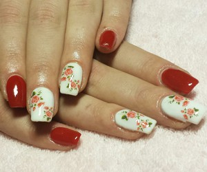 nails, roses, and red image