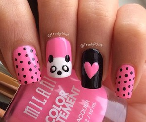 nails, panda, and pink image