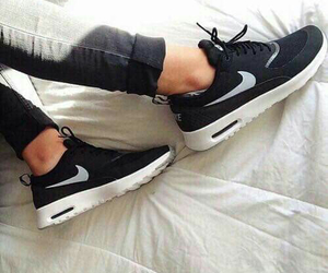 black, nike, and sneakers image