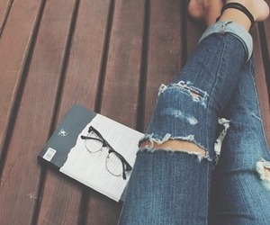 fashion, jeans, and book image