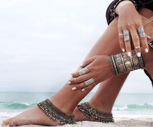 beach, sea, and rings image