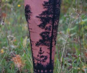 trees and leg tatoo image
