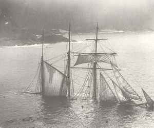 ship, sea, and black and white image