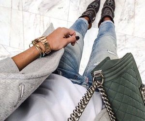 bag, coat, and jewerly image