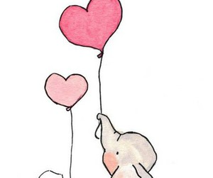 elephant, heart, and balloons image