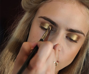 model, gold, and makeup image