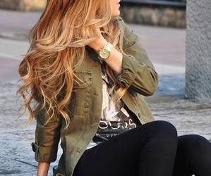girl, hair, and jacket image