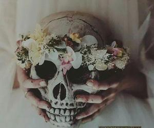 flowers, skull, and grunge image