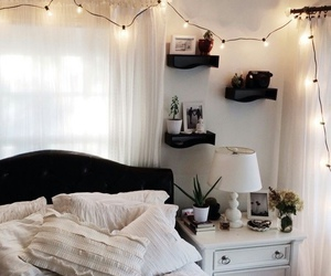 bed, black, and lamp image