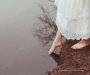 feet, dress, and water image