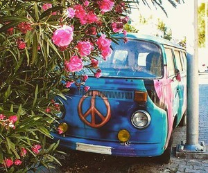 flowers, hippie, and peace image