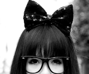 girl, bow, and black and white image
