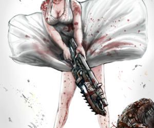 gears of war and Marilyn Monroe image