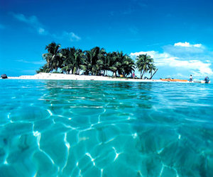 beach, blue skies, and Island image
