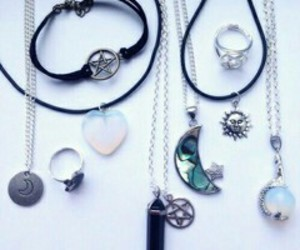 necklace, grunge, and moon image