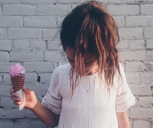 hair, girl, and ice cream image