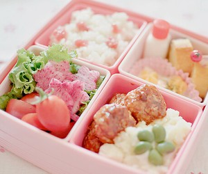 food, bento, and pink image