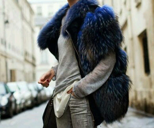 fashion, street style, and blue fur image