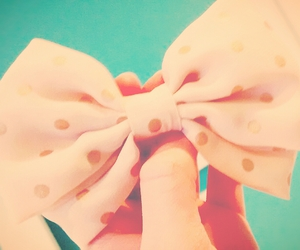 bow, dots, and pink image