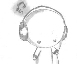 music, cute, and drawing image