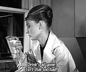 audrey hepburn, quotes, and drink image