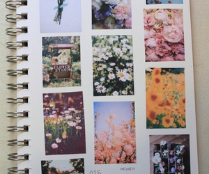 flowers, notebook, and book image