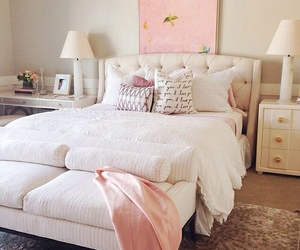bedroom, pink, and bed image