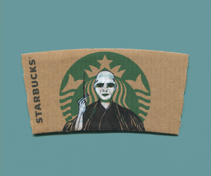 starbucks, voldemort, and harry potter image